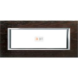 Рамка итальянский стандарт 6 мод прямоугольная, цвет Дерево Венге, Axolute, Bticino
