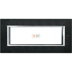 Рамка итальянский стандарт 6 мод прямоугольная, цвет Черный мрамор Ардезия, Axolute, Bticino