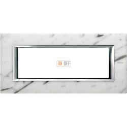 Рамка итальянский стандарт 6 мод прямоугольная, цвет Белый мрамор Каррара, Axolute, Bticino