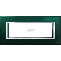 Рамка итальянский стандарт 6 мод прямоугольная, цвет Малахит, Axolute, Bticino