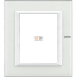 Рамка итальянский стандарт 3+3 мод прямоугольная, цвет Стекло Белое, Axolute, Bticino