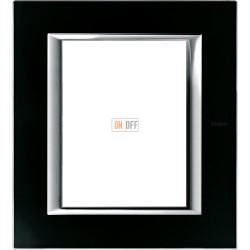 Рамка итальянский стандарт 3+3 мод прямоугольная, цвет Стекло Черное, Axolute, Bticino