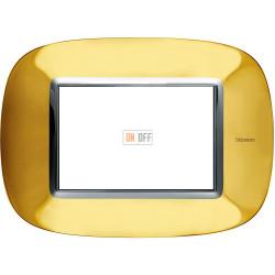 Рамка итальянский стандарт 3 мод эллипс, цвет Золото, Axolute, Bticino