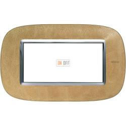 Рамка итальянский стандарт 4 мод эллипс, цвет Кожа Песок, Axolute, Bticino