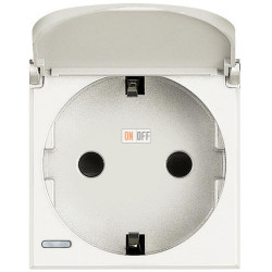 Розетка 1-ая электрическая , с заземлением и крышкой , цвет Белый, Axolute, Bticino