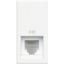 Установочная розетка телефонная 1-ая 4 контакта, RJ-11 1 мод, цвет Белый, Axolute, Bticino