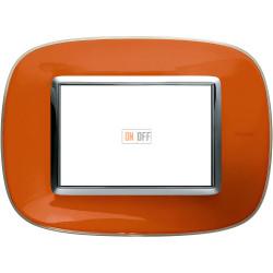 Рамка итальянский стандарт 3 мод эллипс, цвет Апельсиновая карамель, Axolute, Bticino