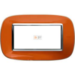 Рамка итальянский стандарт 4 мод эллипс, цвет Апельсиновая карамель, Axolute, Bticino