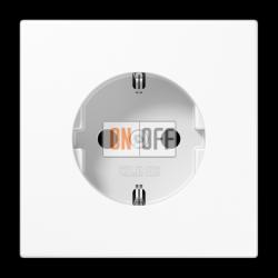 Розетка 1-ая электрическая , с заземлением и защитными шторками (безвинтовой зажим), цвет Белый, LS990, Jung