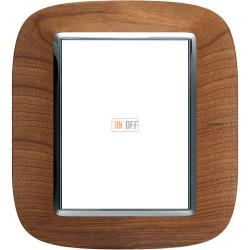Рамка итальянский стандарт 3+3 мод эллипс, цвет Дерево Черешня, Axolute, Bticino