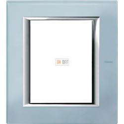 Рамка итальянский стандарт 3+3 мод прямоугольная, цвет Стекло Голубое, Axolute, Bticino