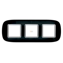 Рамка 3-ая (тройная) эллипс, цвет Роскошный черный, Axolute, Bticino