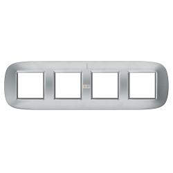 Рамка 4-ая (четверная) эллипс, цвет Зеркальный алюминий, Axolute, Bticino