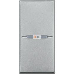 Установочный выключатель 1-клавишный, проходной (с двух мест) 1 мод Axial, цвет Алюминий, Axolute, Bticino