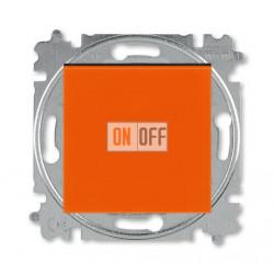 Выключатель 1-клавишный; кнопочный с двух мест, цвет Оранжевый/Дымчатый черный, Levit, ABB