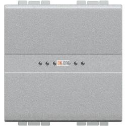 Выключатель 1-клавишный ,проходной с подсветкой (с двух мест) Axial, цвет Алюминий, LivingLight, Bticino