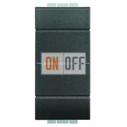Выключатель 2-клавишный проходной с подсветкой (с двух мест) Axial, цвет Антрацит, LivingLight, Bticino