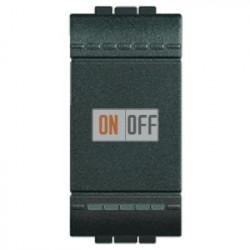 Выключатель 2-клавишный; кнопочный с подсветкой (винтовые клеммы), цвет Антрацит, LivingLight, Bticino