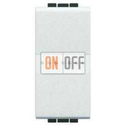 Выключатель 2-клавишный проходной с подсветкой (с двух мест) Axial, цвет Белый, LivingLight, Bticino