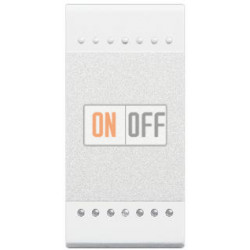 Выключатель 2-клавишный проходной с подсветкой (с двух мест), цвет Белый, LivingLight, Bticino