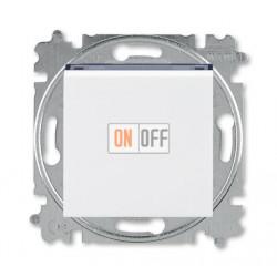 Выключатель 1-клавишный; кнопочный с двух мест, цвет Белый/Дымчатый черный, Levit, ABB