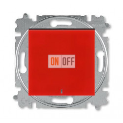 Выключатель 1-клавишный ,проходной с подсветкой (с двух мест), цвет Красный/Дымчатый черный, Levit, ABB