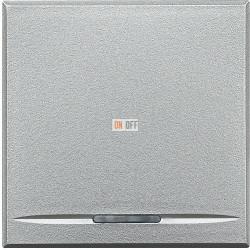 Выключатель 1-клавишный ,проходной с подсветкой (с двух мест) (винтовые клеммы), цвет Алюминий, Axolute, Bticino