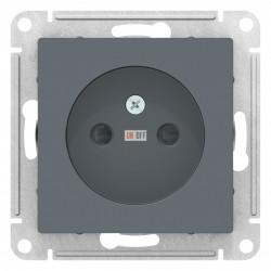 Розетка 1-ая электрическая без заземления с защитными шторками, Грифель, серия Atlas Design, Schneider Electric