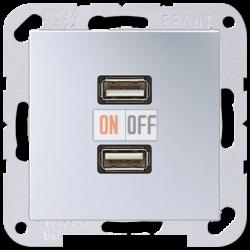 Розетка USB 2-ая, цветАлюминий,A500,Jung