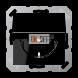 Розетка 1-ая электрическая , с заземлением и крышкой , цвет Черный, A500, Jung