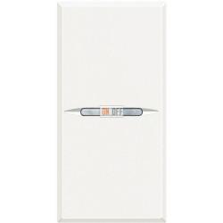 Выключатель 2-клавишный проходной с подсветкой (с двух мест) Axial, цвет Белый, Axolute, Bticino