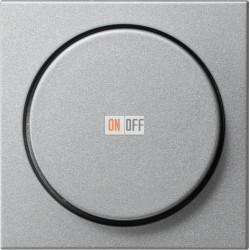 Диммер поворотно-нажимной , 600Вт для ламп накаливания, цвет Алюминий, Gira