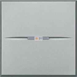 Выключатель 1-клавишный ,проходной с подсветкой (с двух мест) Axial, цвет Алюминий, Axolute, Bticino