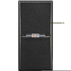 Выключатель 2-клавишный проходной с подсветкой (с двух мест) Axial, цвет Антрацит, Axolute, Bticino