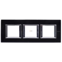 Рамка 3-ая (тройная) прямоугольная, цвет Стекло Черное, Axolute, Bticino