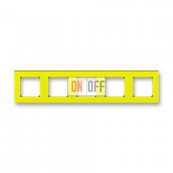 Рамка 5-ая (пятерная), цвет Желтый/Дымчатый черный, Levit, ABB