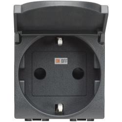 Розетка 1-ая электрическая , с заземлением и крышкой , цвет Антрацит, LivingLight, Bticino