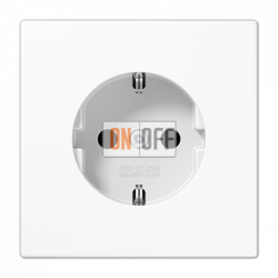 Розетка 1-ая электрическая , с заземлением (безвинтовой зажим), цвет Белый, LS990, Jung