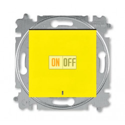 Выключатель 1-клавишный , с подсветкой, цвет Желтый/Дымчатый черный, Levit, ABB