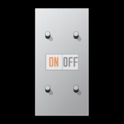 Выключатель 2-кл кноп. НО + Выключатель 2-кл кноп. НО (тумблер-цилиндр) верт, цвет Алюминий, LS1912