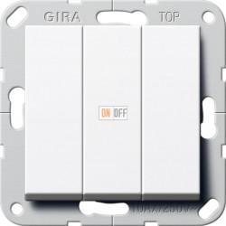 Выключатель 3-клавишный, цвет Белый, Gira