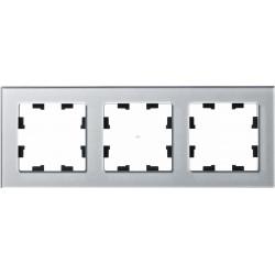 Рамка 3-ая (тройная), Стекло Алюминий, серия Atlas Design Nature, Schneider Electric