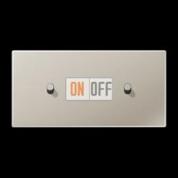 Выключатель 1-кл прох. + Выключатель 1-кл кноп. НО (тумблер-цилиндр) гориз, цвет Нерж. сталь, LS1912