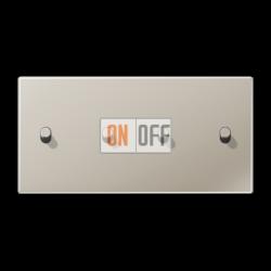 Выключатель 2-кл + Выключатель 2-кл кноп. НО (тумблер-цилиндр) гориз, цвет Нерж. сталь, LS1912