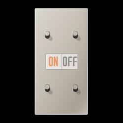 Выключатель 2-кл + Выключатель 2-кл кноп. НО (тумблер-цилиндр) верт, цвет Нерж. сталь, LS1912