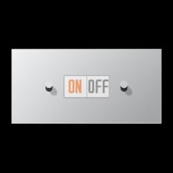 Выключатель 1-кл кноп. НО + Выключатель 1-кл кноп. НО (тумблер-конус) гориз, цвет Алюминий, LS1912