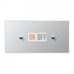Выключатель 1-кл прох. + Выключатель 1-кл кноп. (тумблер-конус) гориз, цвет Алюминий, LS1912