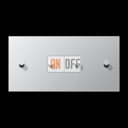 Выключатель 2-кл + Выключатель 2-кл кноп. НО (тумблер-конус) гориз, цвет Алюминий, LS1912