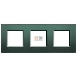 Рамка 3-ая (тройная) прямоугольная, цвет Зеленый шелк, LivingLight, Bticino