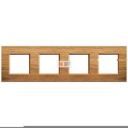 Рамка 4-ая (четверная) прямоугольная, цвет Дерево Орех (европейский), LivingLight, Bticino